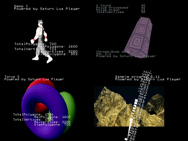 Saturn Lua Player: screenshots of SGL samples written in Lua